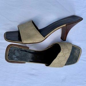 """Vintage Gucci logo slide 3"""" heel, natural, Sz 7.5B"""